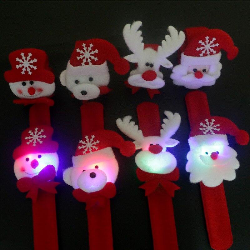 2016 Yeni Noel Hediyesi Çocuk Işıklı Oyuncaklar Için Bilezikler Noel Süsler 4 Stilleri Kar Santa Old Santa Ayı Boynuzları daire