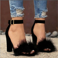 Bailehou Fashion Sexy Shoes Woman Sandals Large Big Size High Heels Women Pumps Black Open Toe Ladies Sandals Fur Women Shoes
