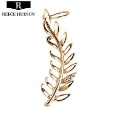 Pendientes New Fashion Rhinestone Clip Earrings For Women Smooth Surface Gold Leaf Earring Ear Cuff Brincos