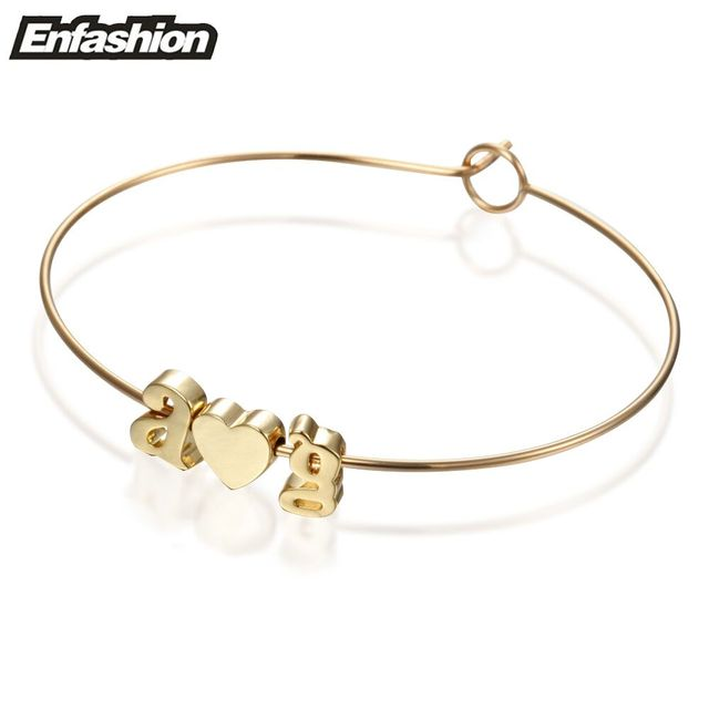 Enfashion Letter Bracelet Initial Cuff Bracelets Gold Color Alfabet Bangles For Women Pulseiras Diy Jewelry