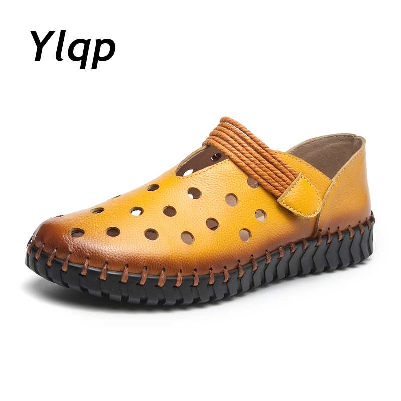 Ylqp Soft Genuine Leather Hollow Shoes Women Slip on Woman Loafers Moccasins Female Flats Casual Women's Boat Shoes 2018 Fashion
