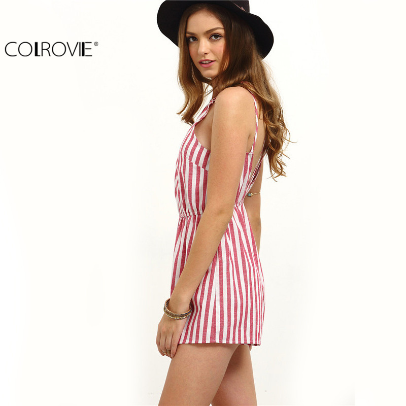COLROVIE Sleeveless Summer Style Beach Rompers Women Jumpsuit Ladies Sexy Vertical Stripe Backless Cutaway Rompers 1