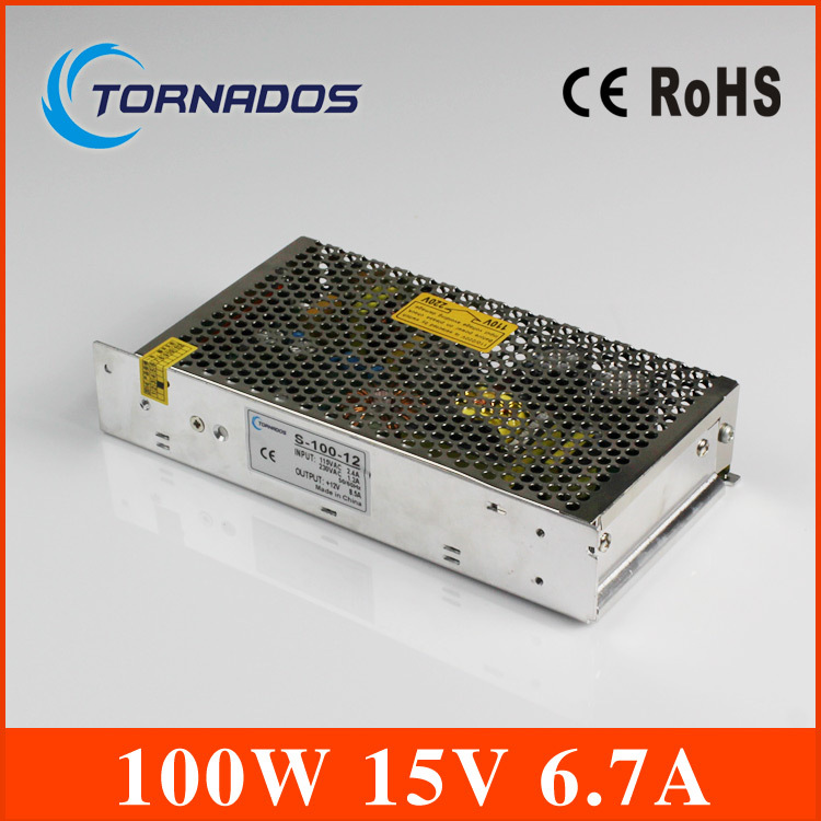 (S-100-15 )100w 6.7A led power supply 15v 100w led power supply switching single output type metal case with CE certification