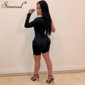 Simenual النيون عاكس مخطط عارضة Playsuits اللياقة البدنية رياضي نشط ارتداء واحدة الكتف طويل كم ثوب فضفاض للمرأة بذلة