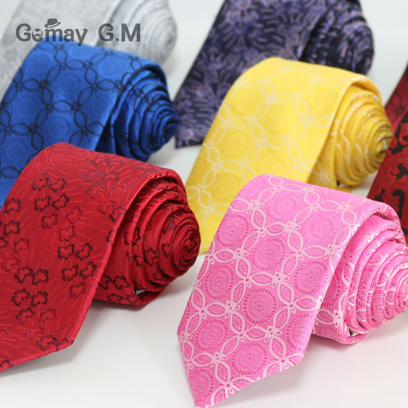 New Floral Ties High Quality Polyester Woven  Tie For Men Fashion Classic Man's Necktie For Wedding 7cm Width Free Shipping