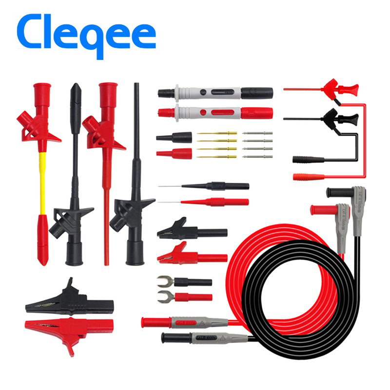 Cleqee Multifunctional Multimeter Probe Kit Piercing IC Test Hook Lead Needle 4mm Banana Plug Alligator Clip stick Clamp 1 pairs professional rigid shaft clamp type test probe hook with 4mm socket insulation piercing clip catiii 1000vac 10a max