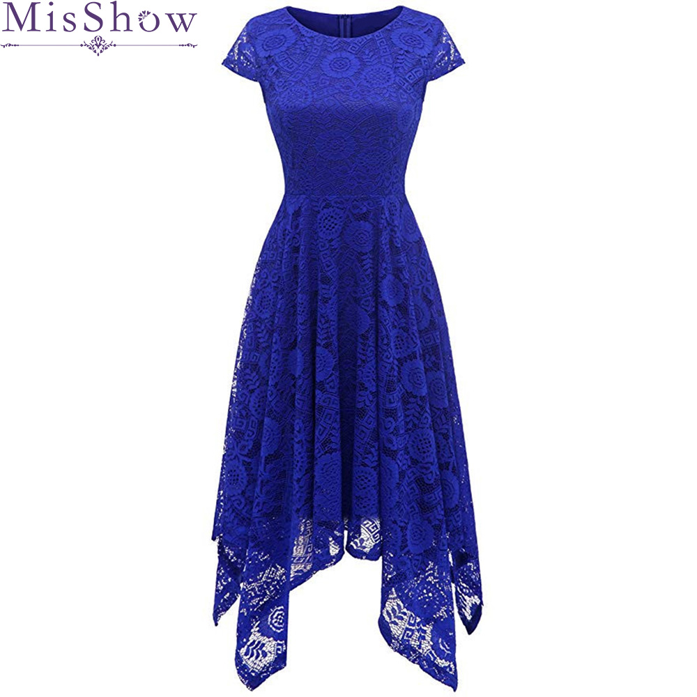 Robe de   Cocktail   Party   Dress   2019 Women Elegant Short   Cocktail     Dresses   Knee Length Royal Blue Lady High Low Party Prom   Dress