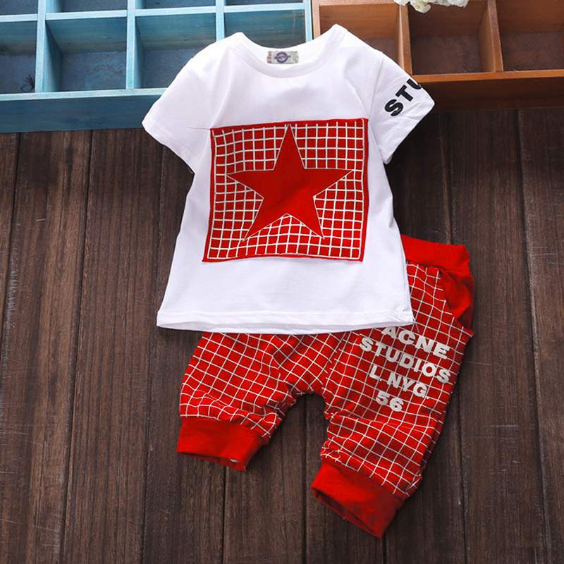 Baby boy clothes summer kids clothes sets t-shirt+pants suit clothing set Star Printed Clothes newborn sport suits 2pcs set baby clothes set boy