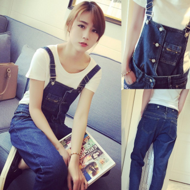 ФОТО 2017 New Hot Fashion High Waist Jeans Women Pencil Pants Sexy Slim Two wear suspenders Elastic Skinny Trousers Fit Lady