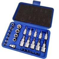 30 Pcs/set Torx Star Bit Socket Set 3/8 1/4 1/2 in Drive Hex Bit Socket Set High Torque Strengthened CR V Socket Household Tool