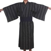 Осень традиционные японские кимоно Пижамный костюм с Оби Для мужчин ванная комната спа Халат хлопок халат Для мужчин дома Loungewear 06250