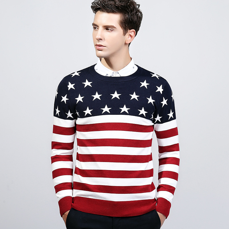 2017 winter men sweater knit England Style fashion casual flag star o neck red mens knitted