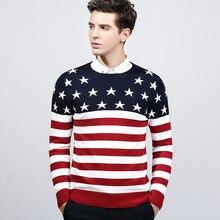 2017 winter männer pullover stricken England Stil mode lässig flagge stern oansatz rot herren pullover pullover pull homme MS920