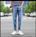 2016 men's jeans holes decoration mens jeans men casual straight denim jeans size 28 - 36