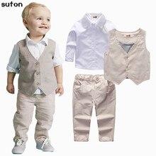 Bébé garçons vêtements set Printemps Automne nouveau gentleman gilet Beige + Chemise blanche + Beige bande pantalon Garçon Vêtements set enfants vêtements