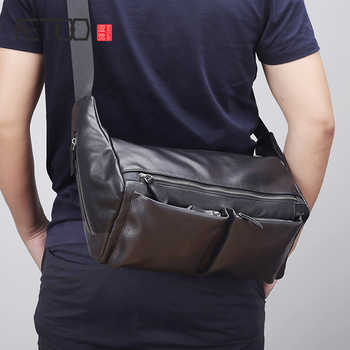 AETOO Leather shoulder bag male trend casual bag Large capacity horizontal men's head layer cowhide oblique cross bag - DISCOUNT ITEM  50% OFF All Category