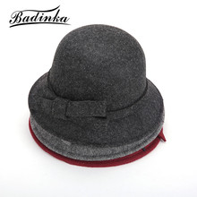 Badinka 2017 New Vintage  Fall Winter Chapeu Fedoras Hat for Woman Girls Bow Knot Top Hat  Floppy Cartola Female Felt Bowler Cap