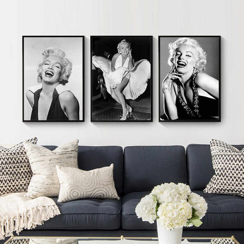 Marilyn Monroe Figure Home Decor Wall Art Nordic Canvas Painting Print Poster Black White Girl Bedroom Living Room Retro Picture