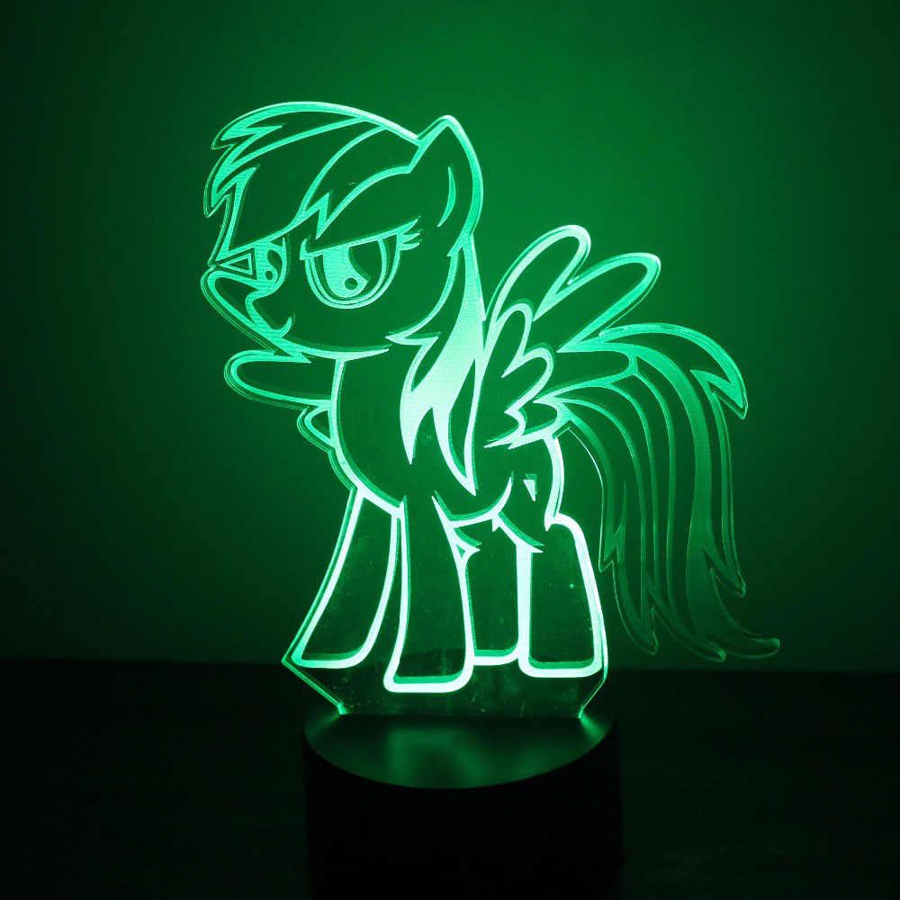 Visuele LED Kids Geschenken 3D USB Cartoon Mooie Little Pony Modellering Nightlights Kinderen Slaapkamer Sfeer Stemming Decor Desk Tafellamp