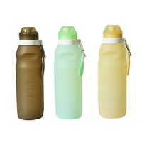 Silicone Water Bottle with Climbing Lock Collapsible Leakproof Suitable for Camping Climbing Travel Outdoors Portable Bottle
