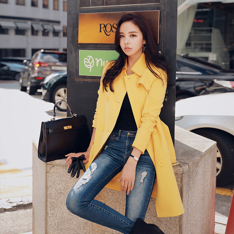Dabuwawa Double Breasted Long Trench Coat for Women Girls New Yellow Black Lapels Belted Korean Outerwear