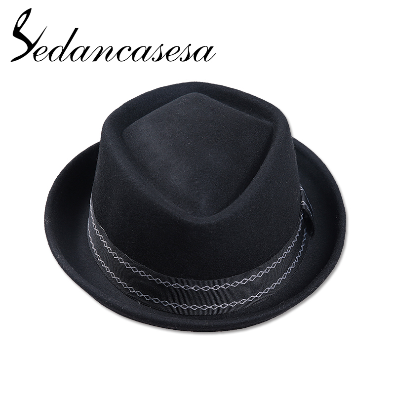 Image 2 - Sedancasesa New Europe England Style Autumn Winter Hat For Men Fedora Hat pork pie Mans Wool Felt Male Fedoras Vintage CapMens Fedoras   -
