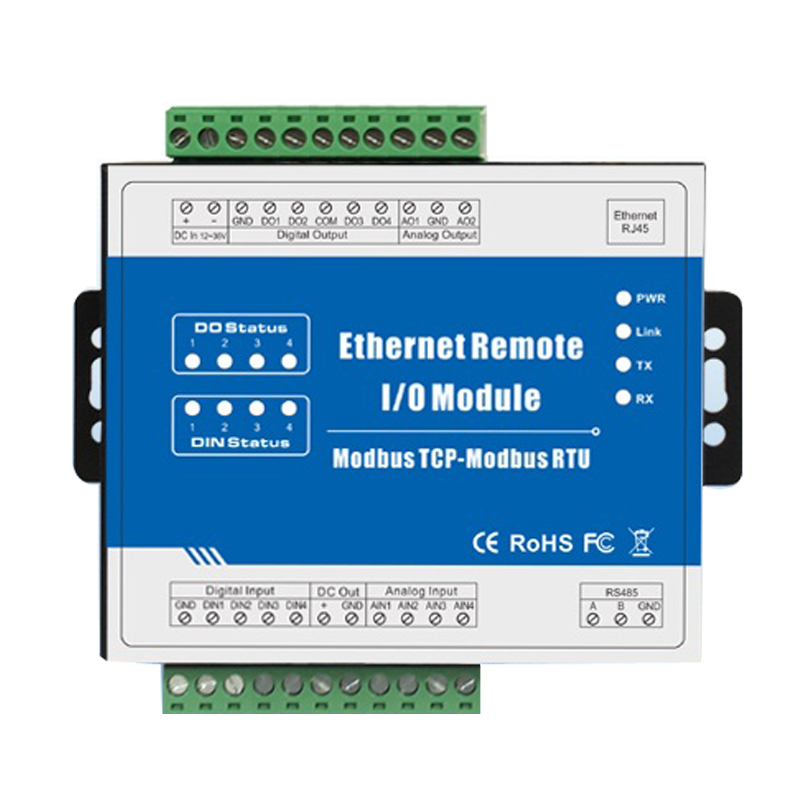 Modbus TCP Ethernet Remote IO Module (4DI+4DO+4AI+2AO) Built-in Watchdog Supports 10MHz High Speed Pulse Counter M120T