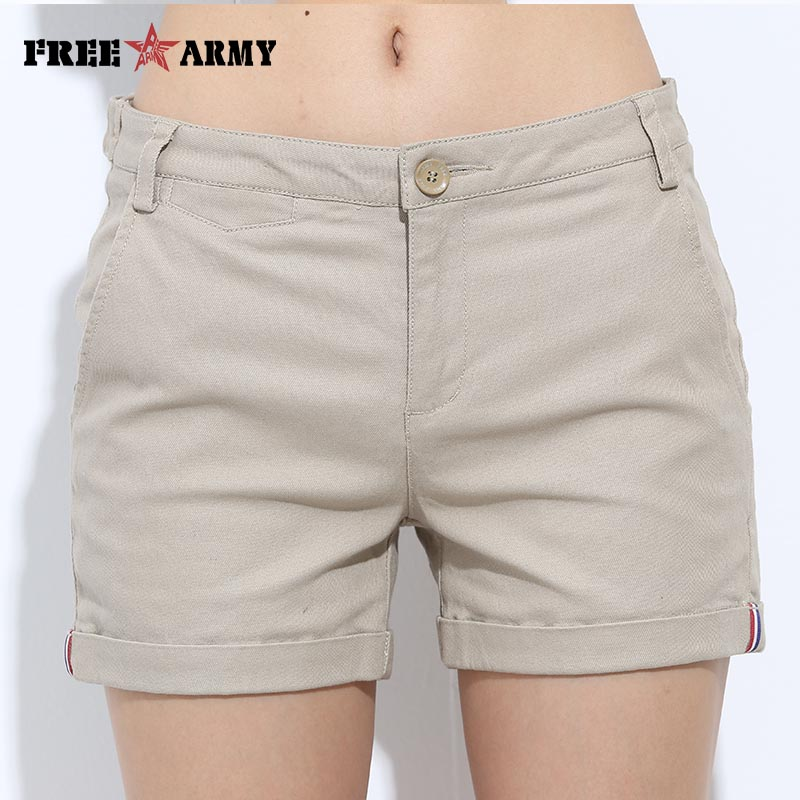 FreeArmy Brand Women's   Shorts   Summer Two Designs Female Casual Cotton   Shorts   Women Plain Denim   Shorts   Embroidery   Short   Lady