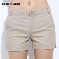 FreeArmy Brand Women's Shorts Summer Two Designs Female Casual Cotton Shorts Women Plain Denim Shorts Embroidery Short Lady