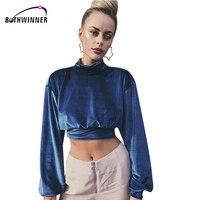 Bothwinner Fashion Chic Rollkragen Samt T-shirt Frauen Sexy Crop Top 2018 Frühling Weibliches T-shirt Kurzen Übersteigt T-stücke Schlank Kleidung