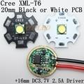 Cree XML XM-L T6 Cool White Neutral White Warm White 10W High Power LED Emitter on 20mm Black or White PCB+ DC3.7V 5 Mode Driver
