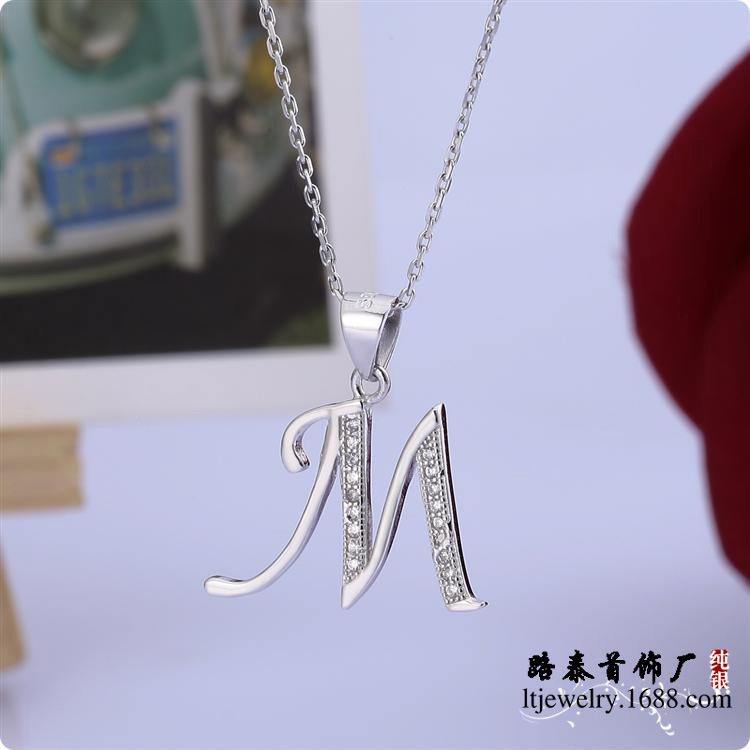 BLAL013 NEW 925 Silver CZ Alphabet Initial M Letter Pendants with chains necklace Jewelry free shipping