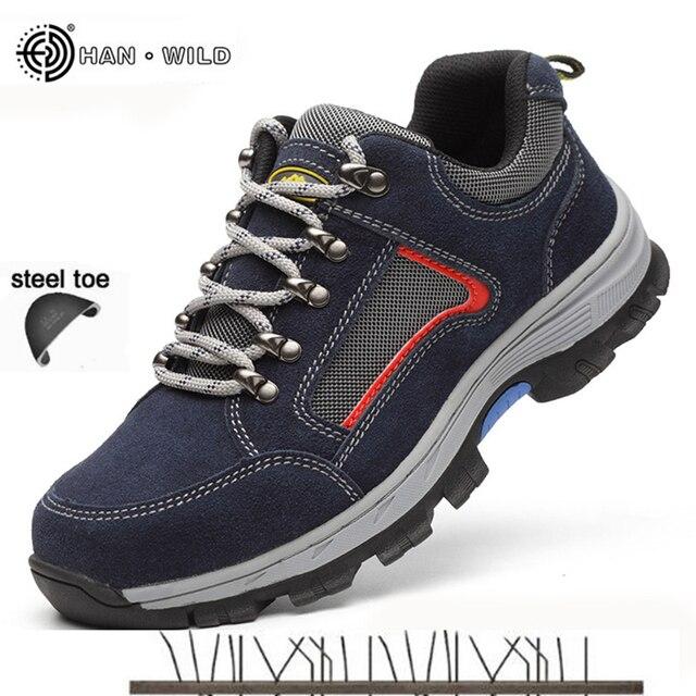 Erkekler Için iş Güvenliği Ayakkabı Vintage Blcak Mesh Nefes Çelik Burunlu Çizmeler Mens Emek Sigorta Delinme Geçirmez Rahat Ayakkabı adam
