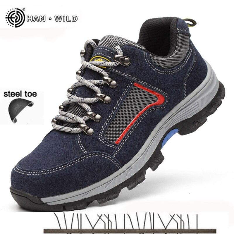Scarpe di Sicurezza sul lavoro Per Gli Uomini Vintage Blcak Mesh Traspirante Acciaio Stivali Cap Toe Mens Puntura Prova di Assicurazione del Lavoro Scarpa Casual uomo