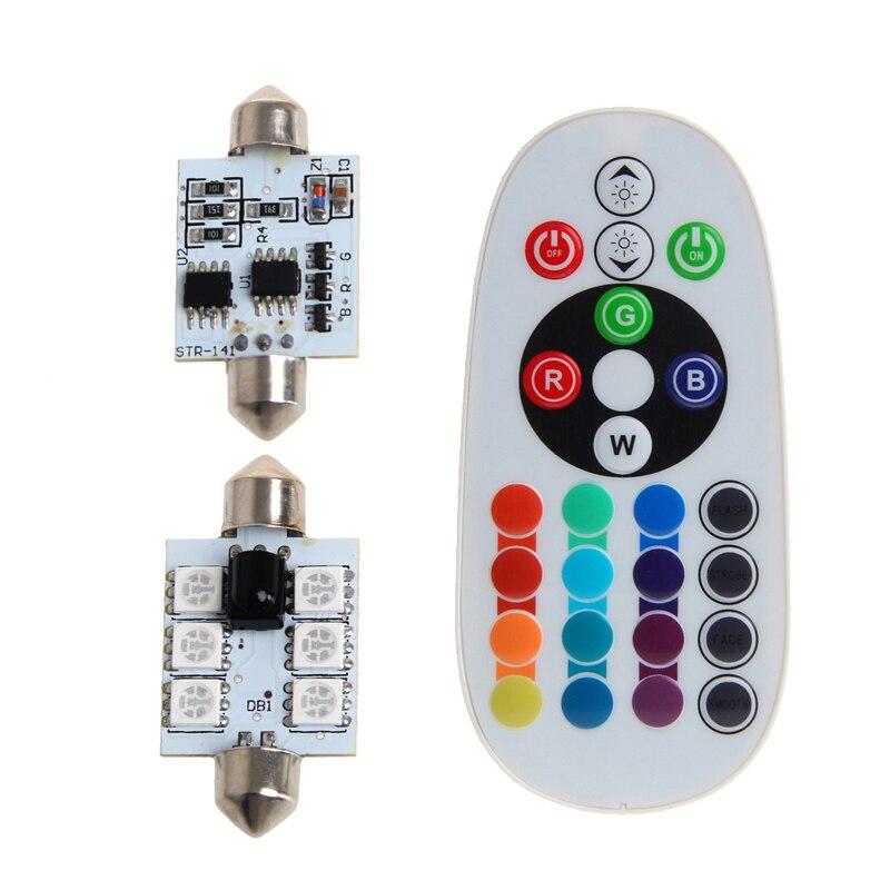 1 компл. 42 мм DC 12 В 5050 6 <font><b>LED</b></font> RGB декоративные светодиодные лампы Карта Купол салона свет + Пульт дистанционного управления