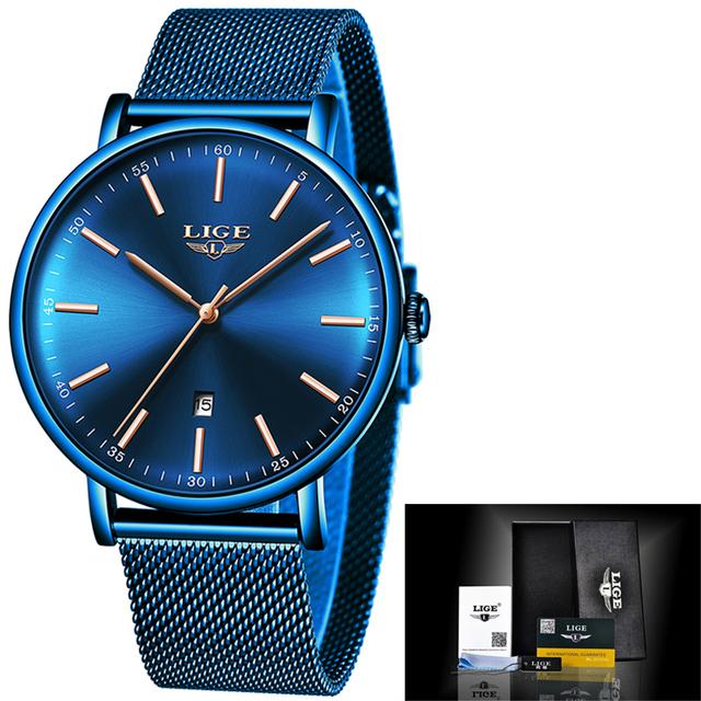 LIGE Mens Watches Top Brand Luxury Waterproof Ultra Thin Clock Blue Mesh Belt Fashon Casual Quartz Watch Men Sport Wrist Watch