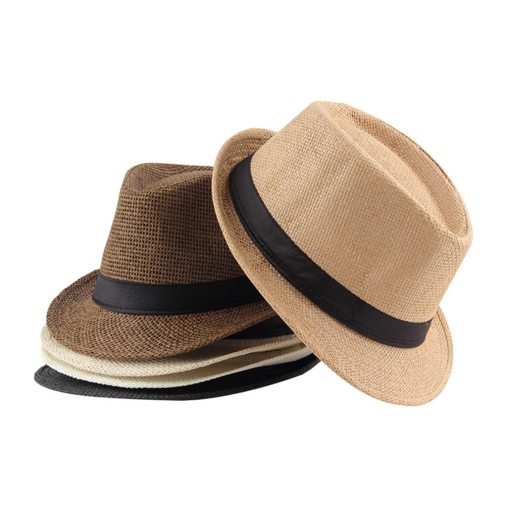 Women Straw Sunhat Summer Beach Fedora Trilby <font><b>Gangster</b></font> Hats Cap Straw Panama Style Packable Travel Hat Female Male Fedoras image