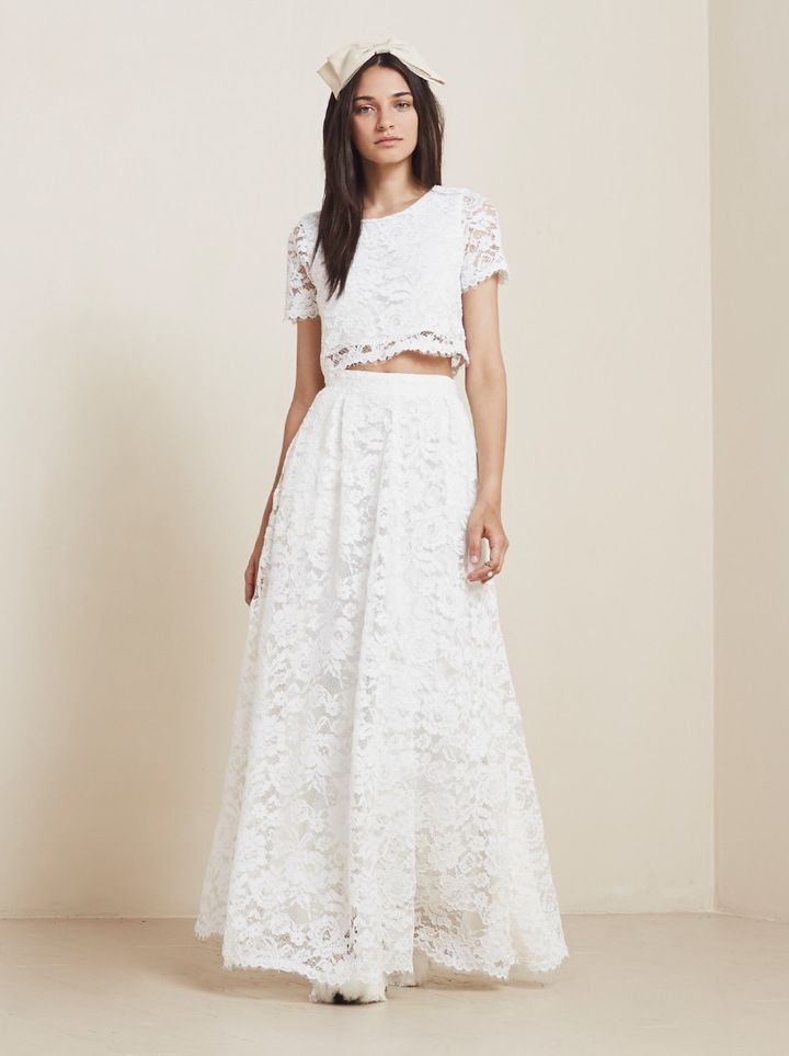 Lace Wedding Dress 2015 Hot Sale Scoop Short Sleeves Two Piece ...