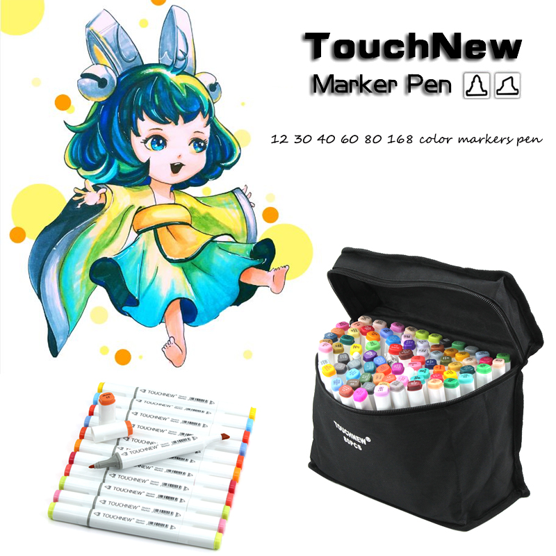 TOUCHNEW 12/30/40/60/80/168 Color Drawing Set Colors Children Watercolor Pen Safe Non-toxic Water Washing Art Sketch Markers Pen touchnew 30 40 60 80 168 color art marker pen artist dual head markers sketch set watercolor brush pen liners for drawing
