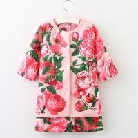 Kids Clothes Girls Set 2017 Brand Autumn Children Tracksuit Girls Clothing Sets Rose Flower Jackets Dress