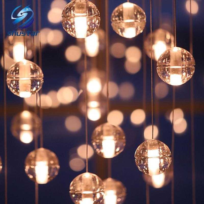 100mm Diameter G4 Led Crystal Gl Ball Pendant Light Ac110v 220v Lamp Restaurant Stair Bar Cafes Droplight With 2 Meter Cable