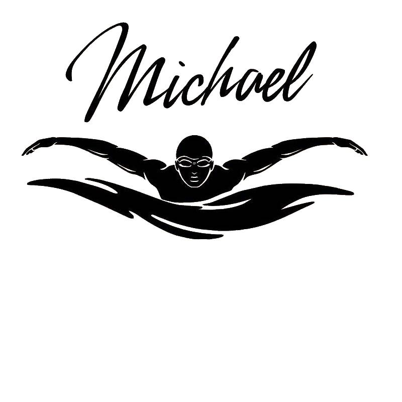 DCTAL Swim Sticker Logo Name Swimmer Decal Swimming