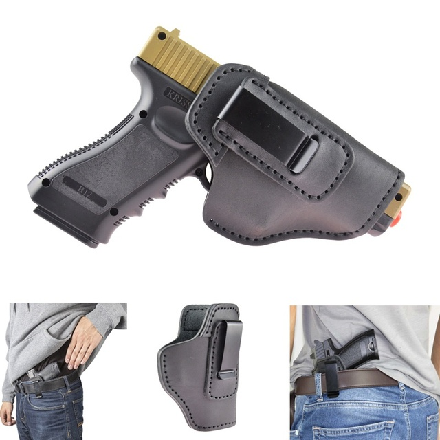 Leather IWB Holster For S&W M&P Shield GLOCK 17 19 22 23 32 33 ...