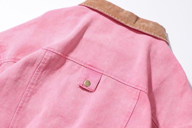 Designs Boyfriend Survêtement Bomber Manteau Femmes Écolière Baseball Veste Rose Patchwork Stretch Patch Oversize Denim Harajuku Femelle xawq8Rq