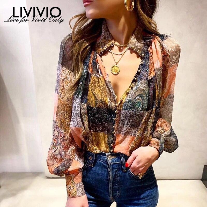 [LIVIVIO] Vintage Print Long Lanter Sleeve Stand Neck Single Breasted Blouse Women Shirt 2019 Fashion Clothing