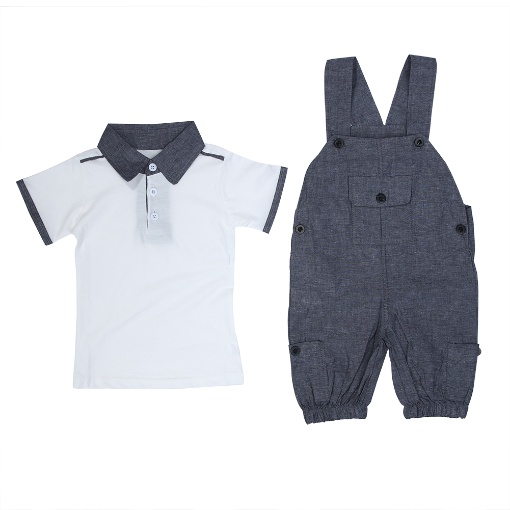 2018 Baby Boys Kids Formal Suits Summer Boy Gentleman Clothes Set Short Sleeve Shirt+Gray Overalls Trousers Outfit For Children