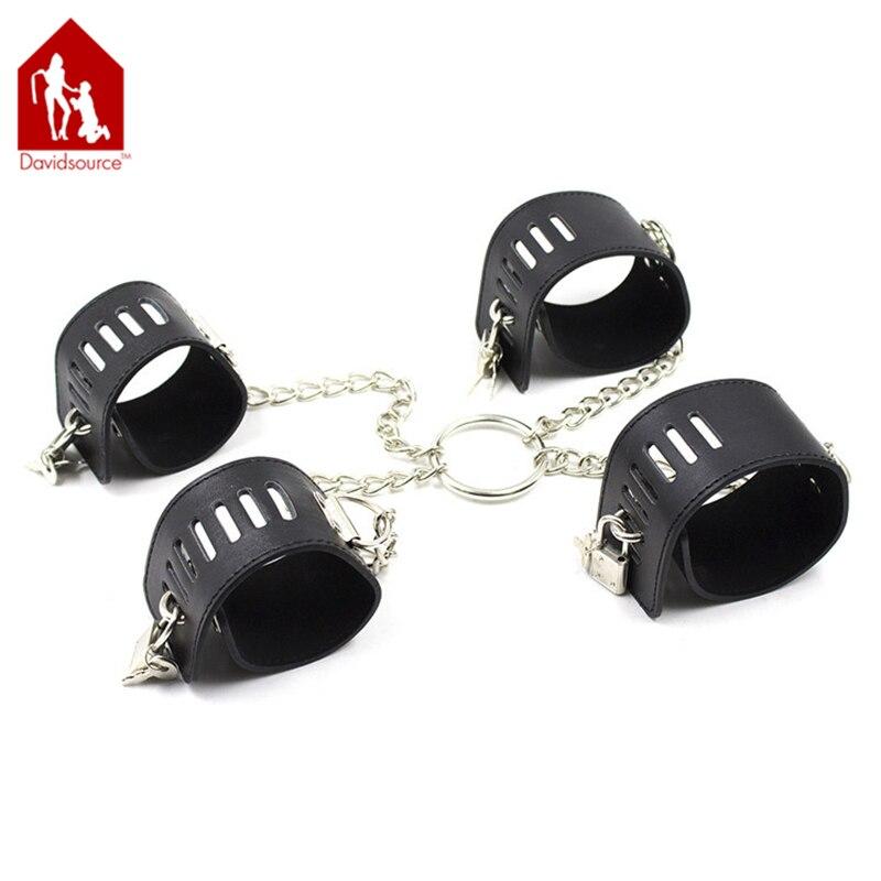 Davidsource X-Corss Lockable Leather Wrist & Ankle Cuff With Metal Chain Sex Slave Restraints Kit Handcuffs Bondage Sex Toy