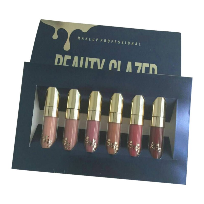 6pcs/Set Liquid Makeup Matte Lipstick Lip Kit Gloss Long Lasting Lipstick Cosmetics Lip Gloss hannaier 269 h12 pen style moisturizing lipstick lip gloss deep orange page 4