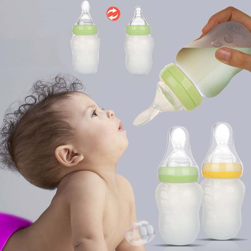 180ml Extrusion Type Baby Feeding Bottle With Spoon Silicone Infant Food Supplement Rice Paste Feeding Bottle 2 Nipple Pacifier