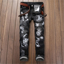 2016 Mens Skinny Letter Printing Jeans Gray Distressed Straight Jeans Fashion Designer Denim Trousers P4075